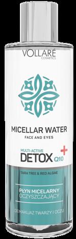 Nowość! VOLLARE Oczyszczający PŁYN MICELARNY do demakijażu twarzy i oczu DETOX 400 ml