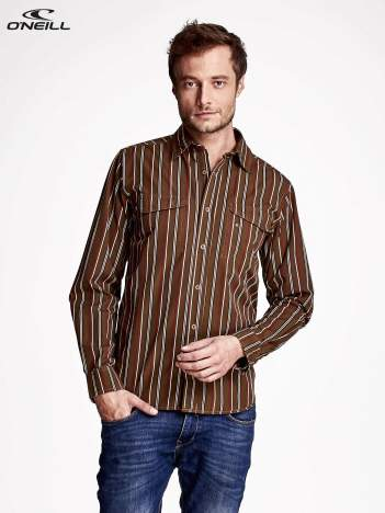 O'NEILL Brązowa koszula męska w kolorowe paski