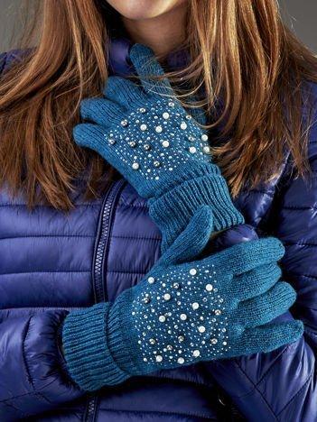 Ocieplane rękawiczki pięciopalczaste z perełkami ciemnozielone