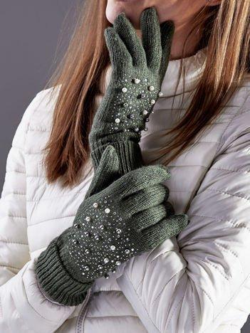 Ocieplane rękawiczki pięciopalczaste z perełkami khaki