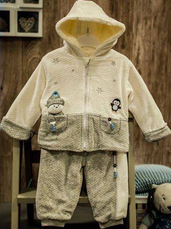 Ocieplany dres niemowlęcy dla dziewczynki ecru