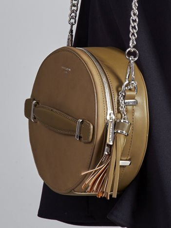 Okrągła torebka listonoszka jasnobrązowa