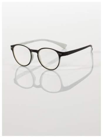 Okulary korekcyjne  +4.0 D dwukolorowe ,do czytania, stylizowane na RAY BAN +GRATIS PLASTIKOWE ETUI I ŚCIERECZKA Z MIKROFIBRY