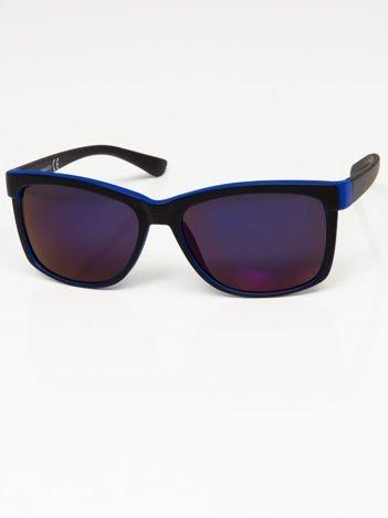 Okulary przeciwsłoneczne czarno-granatowe lustrzanki szkło szaro-niebieskie