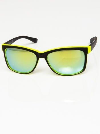 Okulary przeciwsłoneczne czarno-żółte lustrzanki szkło morskie/zielone