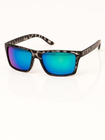 Okulary przeciwsłoneczne leopard, szkło lustro niebieskie