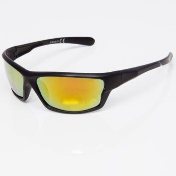 Okulary przeciwsłoneczne męskie w stylu sportowym żółte lustrzanka