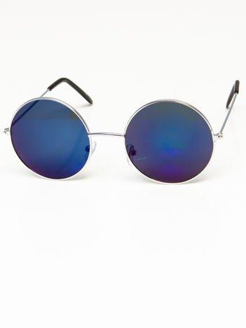 Okulary przeciwsłoneczne okrągłe w stylu LENONKI unisex srebrne szkło niebiesko-szare lustrzanka
