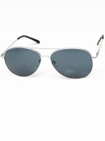 Okulary przeciwsłoneczne pilotki w stylu AVIATOR unisex srebrne szkło zielono-szare system FLEX na zausznikach BARDZO WYGODNE