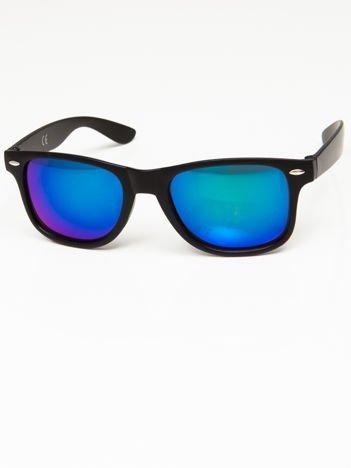 Okulary przeciwsłoneczne w stylu NERDY czarne lustrzanki niebiesko-zielone