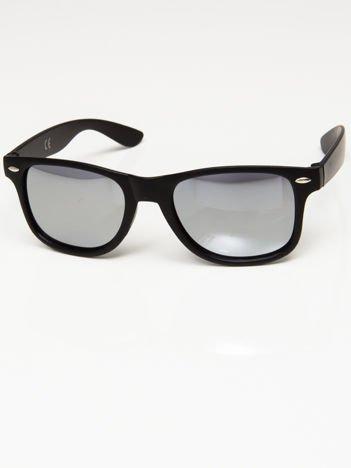 Okulary przeciwsłoneczne w stylu NERDY czarne lustrzanki srebrne
