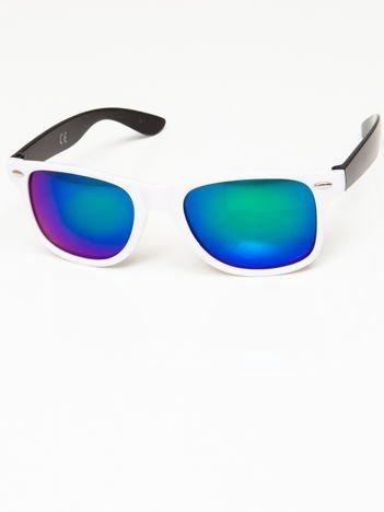 Okulary przeciwsłoneczne w stylu WAYFARER biało-czarne lustrzanki zielono-niebieskie