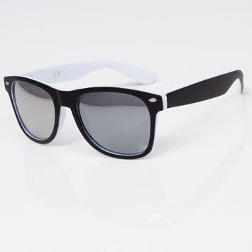 Okulary przeciwsłoneczne w stylu WAYFARER biało-czarne szkło lustrzanka srebrna