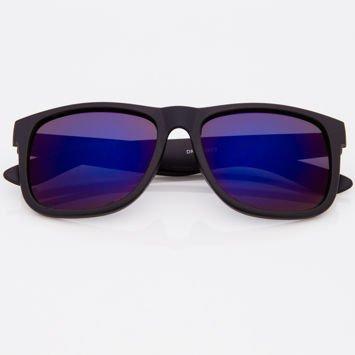 Okulary przeciwsłoneczne w stylu WAYFARER czarne szkło niebieskie lustrzanka