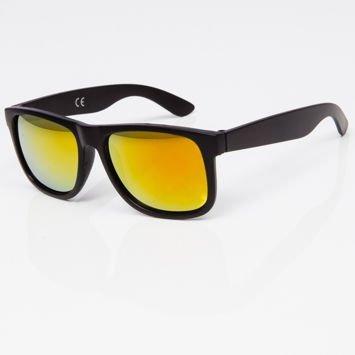 Okulary przeciwsłoneczne w stylu WAYFARER czarne szkło żółto-pomarańczowe lustro