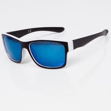 Okulary przeciwsłoneczne w stylu WAYFARER czarno-białe niebieska lustrzanka