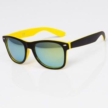 Okulary przeciwsłoneczne w stylu WAYFARER żółto-czarne szkło lustrzanka morska