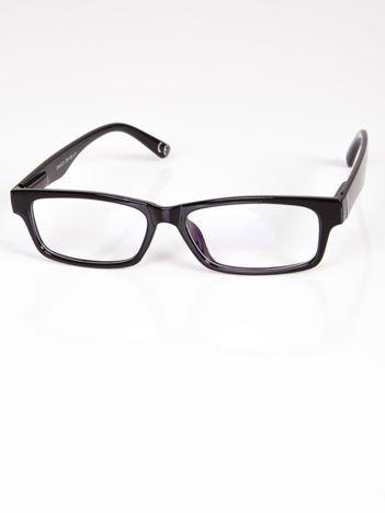 Okulary zerówki z antyrefleksem czarne ramki z połyskiem z systemem flex