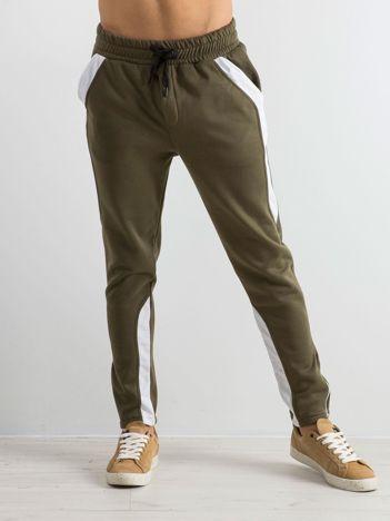 Oliwkowe spodnie dresowe męskie Durable