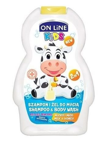 On Line Kids Szampon i żel do mycia ciała 2 w 1 Mleko i miód  250 ml