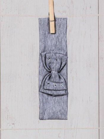Opaska elastyczna dla dziewczynki z kokardką i cyrkoniami szara