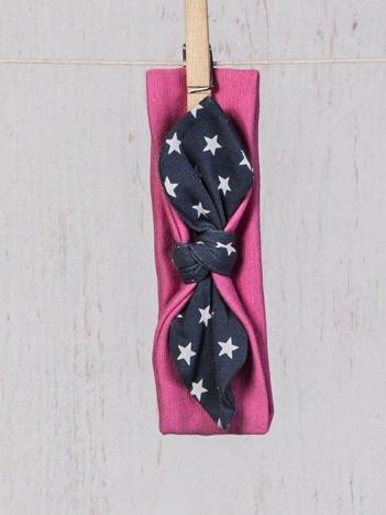 Opaska elastyczna dla dziewczynki z kokardką w gwiazdki ciemnoróżowa