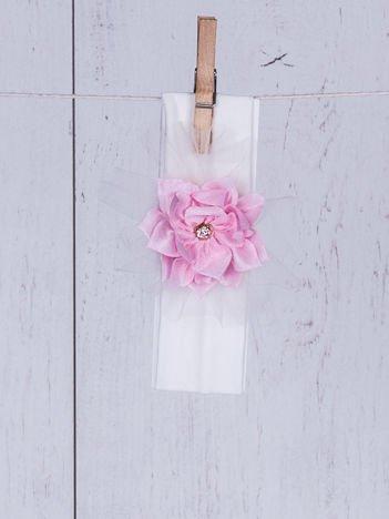 Opaska wizytowa dziewczęca z ozdobnym kwiatkiem ecru