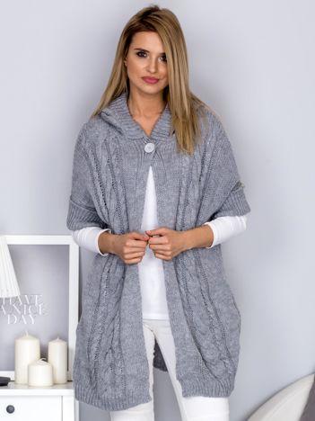 Otwarty sweter z warkoczowym wzorem i kapturem jasnoszary