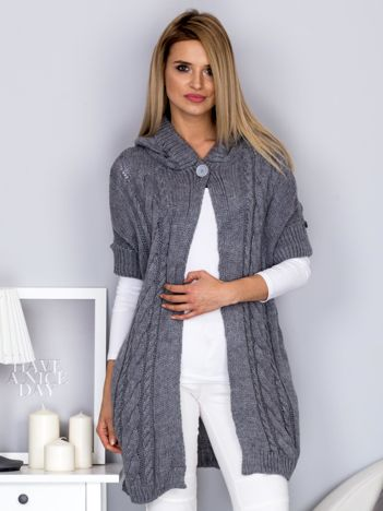 Otwarty sweter z warkoczowym wzorem i kapturem szary