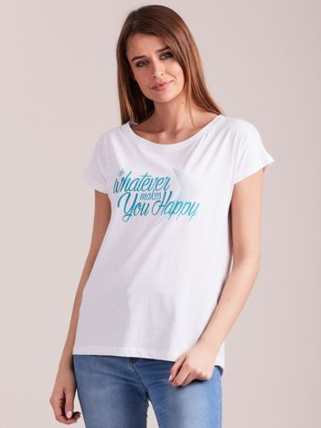 Outhorn Biały t-shirt z nadrukiem