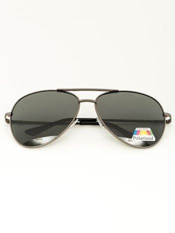 PILOTKI Stalowe okulary przeciwsłoneczne POLARYZACYJNE