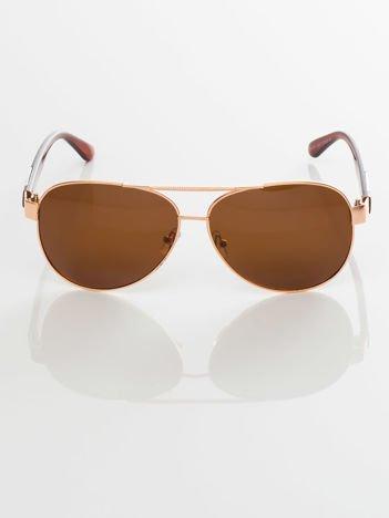 POLARYZACJA złote okulary przeciwsłoneczne PILOTKI +GRATISY ( etui ,ściereczka)