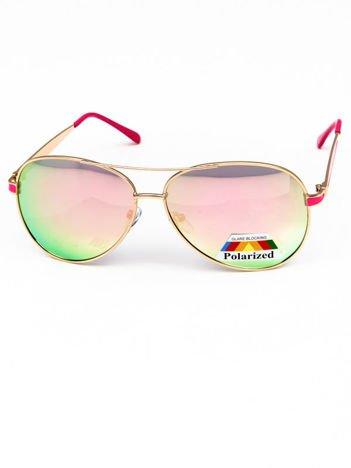 POLARYZACYJNE okulary PILOTKI AVIATORY  różowe LUSTRZANKI + miekkie etui i ściereczka gratis