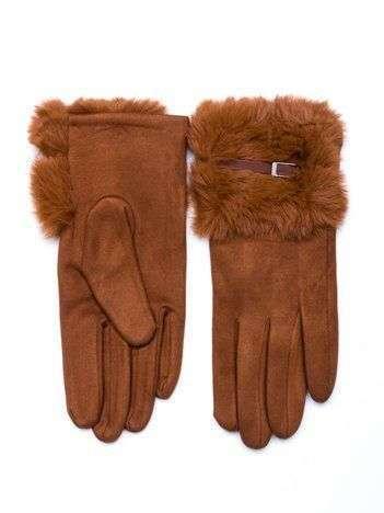 PREMIUM Eleganckie zamszowe camelowe rękawiczki damskie