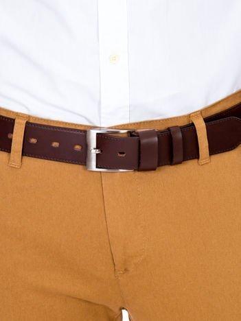 Pasek męski skórzany brązowy z klamrą