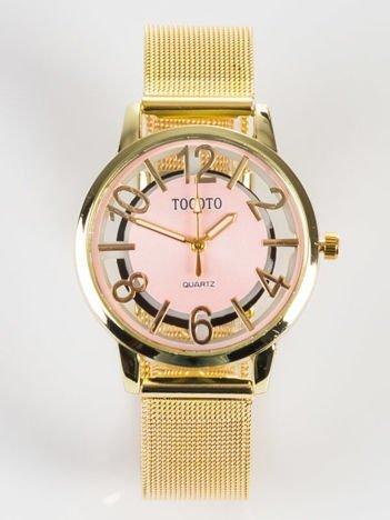 Piękny klasyczny złoty damski zegarek z przeźroczystą tarczą na bransolecie MESH