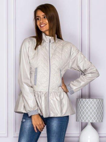 Pikowana kurtka przejściowa z baskinką szara