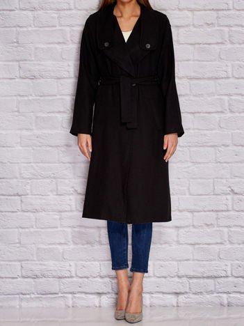 Płaszcz damski z wiązaniem czarny
