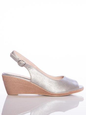 Platynowe sandały SERGIO LEONE z metalicznym połyskiem