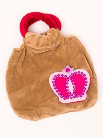 Pluszowa beżowa torebka 20x25 cm  z naszytą ozdobną koroną z cekinami dla dziewczynki