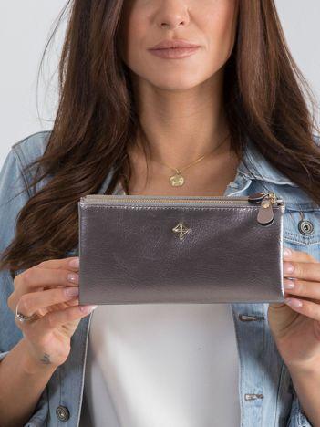 Podłużny damski portfel srebrny