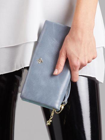 Podłużny portfel z odpinanym uchwytem niebieski