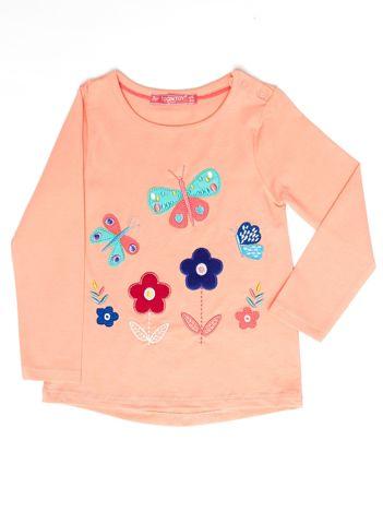 Pomarańczowa bluzka dla dziewczynki z kolorowymi naszywkami