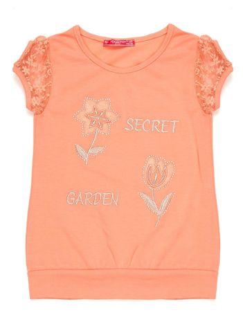 Pomarańczowa bluzka dziewczęca z koronkowymi rękawami i kwiatami