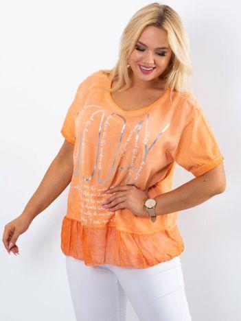 Pomarańczowa bluzka plus size z nadrukiem