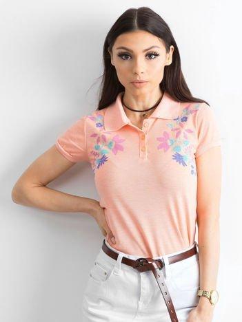 Pomarańczowa koszulka polo z kolorowym kwiatowym printem