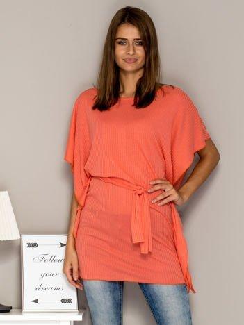 Pomarańczowa prążkowana tunika z wiązaniem