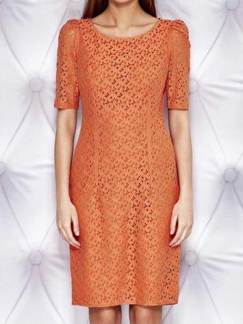 Pomarańczowa sukienka z koronką