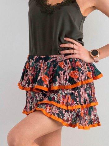 Pomarańczowa wzorzysta spódnica z falbanami