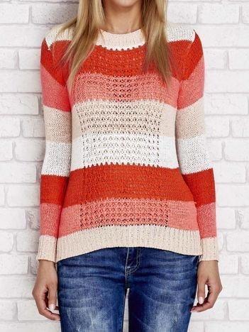 Pomarańczowy sweter w kolorowe paski